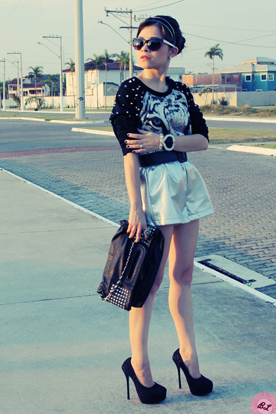 silver shorts - black bag - black blouse - black pumps
