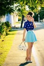 Blue-blouse-sky-blue-skirt