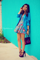 sky blue blazer - violet dress