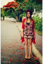 coral shirt - red cardigan - beige skirt