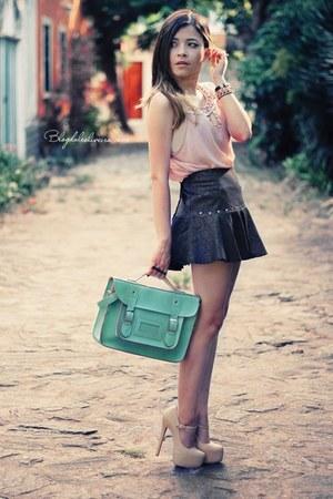 army green skirt - light pink shirt - aquamarine bag