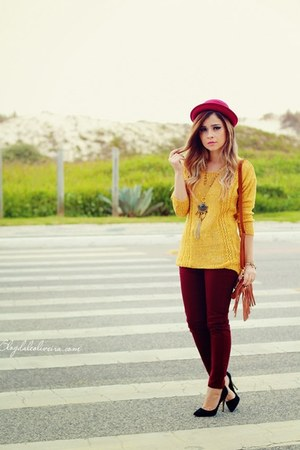 gold blouse - maroon pants