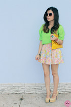 bubble gum skirt - chartreuse shirt - yellow bag - beige pumps