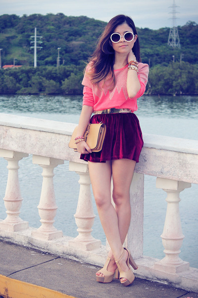crimson skirt - beige bag - beige sunglasses - beige sandals - bubble gum blouse