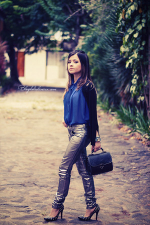 silver pants - blue blouse