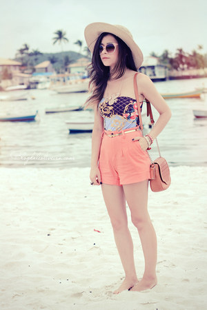 salmon shorts - light pink sunglasses - violet bodysuit
