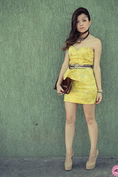 yellow dresses brown bags brown belts beige pumps