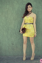 yellow dress - brown bag - brown belt - beige pumps