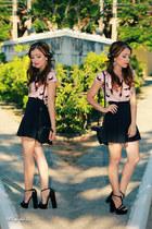 light pink shirt - black skirt