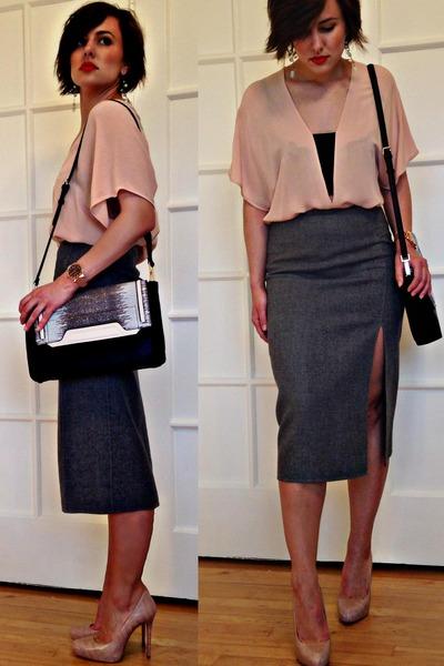 eggshell Zara bag - heather gray Michael Kors skirt - peach Zara heels