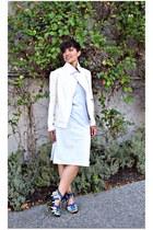 white jersey dress dress - aquamarine lace up heels Zara heels