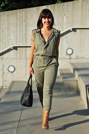 silver bracelet - tan Zara heels - green Zara jumper