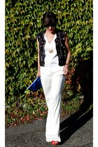 blue blue clutch Zara bag - off white pants - black Zara vest