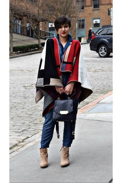 41759673d5 red blanket poncho scarf - navy denim jumpsuit Zara jumper