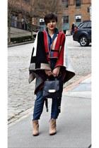 red blanket poncho scarf - navy denim jumpsuit Zara jumper