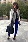 Ivory-peplum-nordstrom-blazer-topshop-scarf-blue-skinny-trouser-zara-pants