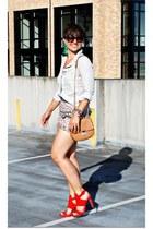 shorts - sky blue chambray shirt Zara shirt