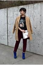 camel camel coat Topshop coat - blue suede boot Zara boots