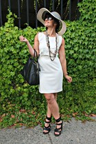 white Forever 21 dress - black sun hat BCBG hat - black Alexander Wang heels