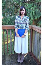 white Nordstrom skirt - blue Zara bag - blue printed blouse Sheinside blouse