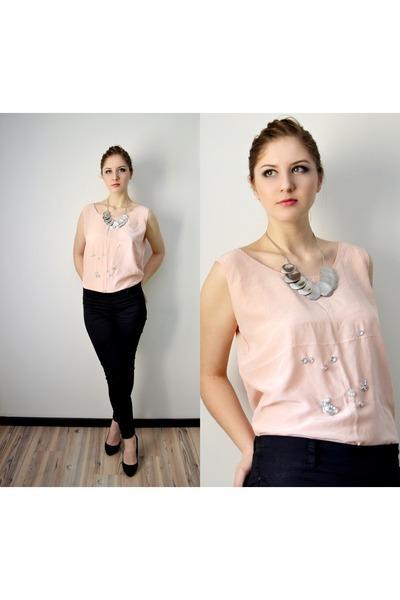 47a40c7d1a61 light pink silk handmade top - black Bershka jeans - silver asos necklace
