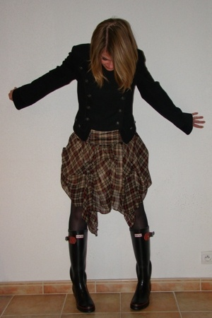 Topshop jacket - asos dress - Hunter boots