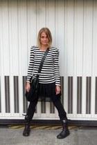black warrior trippen boots - black striped dress Molly Bracken dress