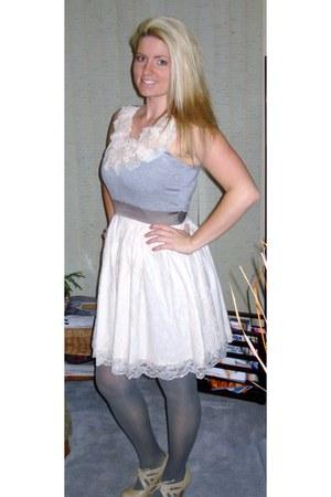 Ruche dress - modcloth dress - Aldo tights - Spring heels