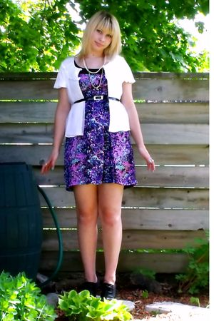 purple winners dress - gray Spring shoes - white vintage blouse - black - pink -