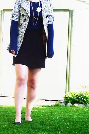 blue Gap shirt - gold RW & Co vest - white winners coat - black homemade skirt -
