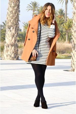 brown PERSUNMALL coat - black PERSUNMALL dress