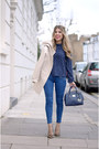 Beige-zara-jacket-navy-zara-blouse-brown-office-pumps