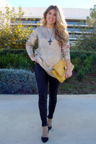 gold Lefties sweater - Zara shoes - mustard Bershka bag - leather Zara pants