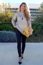 gold Lefties sweater - Zara shoes - mustard Bershka bag - leather Zara pants