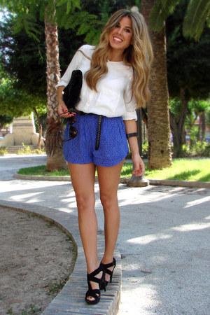 black Mango bag - white Zara shirt - blue Mango shorts