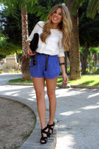 black Mango bag - white Zara shirt - blue Mango shorts
