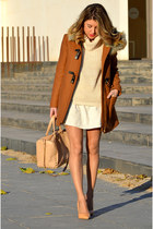 dark brown Zara coat - neutral Zara bag