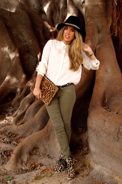 Zara hat - animal print BLANCO bag - Bershka pants