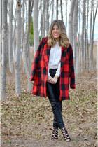red Sheinside coat - black Bershka pants