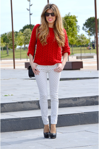 red Zara sweater - black Mango bag - dots Zara pants - black Zara heels