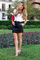 leather Mango skirt - Zara shirt - Stradivarius heels