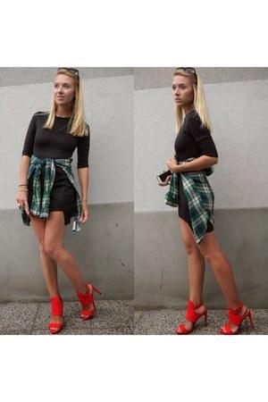 green H&M blouse