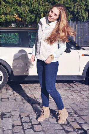 navy H&M jeans - white Cache Cache jacket - light blue Lefties blouse