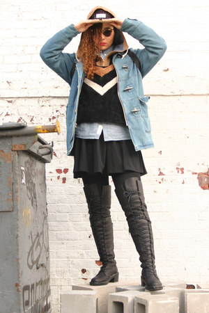black Nasty Gal boots - periwinkle Supreme NY coat - black The Quiet Life hat