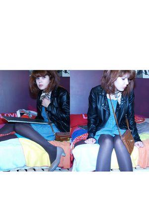 blue SPF dress - black SPF jacket - beige SPF shoes - beige benetton scarf - bro