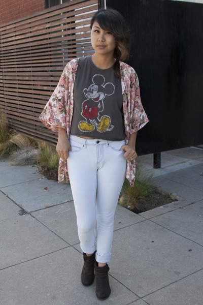 mickey mouse Urban Outfitters shirt - booties crown vintage boots