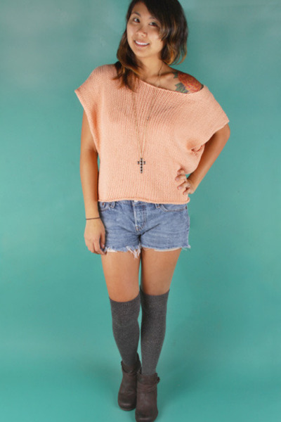 over the knee Forever 21 socks - ankle boots crown boots - knit Insight sweater