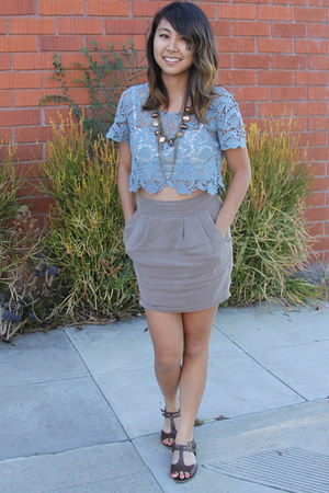 light blue lace Forever 21 blouse - light brown gem  chains Forever 21 necklace