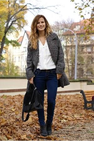 c&a coat - F&F shoes - lindex bag - H&M blouse