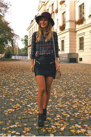 c&a hat - Mango shoes - H&M shirt - reserved bag - H&M skirt